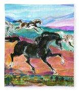 Black Pony Fleece Blanket
