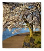 Blossoming Cherry Trees Fleece Blanket