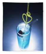 Blue Curacao Cocktail Drink With Cherry Fleece Blanket