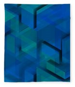 Blue Geometric Composition 1 Fleece Blanket