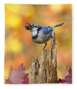 Blue Jay With Acorn Fleece Blanket