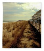 Boardwalk In Winter Fleece Blanket