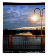 Boat, Lights, Sunset On Lady Bird Lake Fleece Blanket