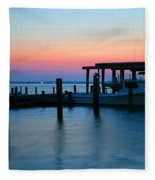Boats At Sunset Fleece Blanket