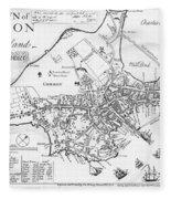 Boston Map, 1722 Fleece Blanket