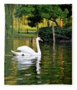 Boston Public Garden Swan Green Reflection Fleece Blanket