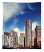 Boston Skyline 1980s Fleece Blanket