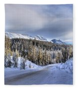 Bow Valley Parkway Winter Conditions Fleece Blanket