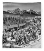 Bow Valley River View Black And White Fleece Blanket