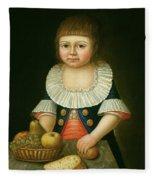 Boy With A Basket Of Fruit Fleece Blanket
