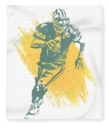 Brett Favre Green Bay Packers Water Color Art 1 Fleece Blanket