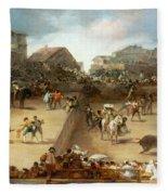 Bullfight In A Divided Ring Fleece Blanket