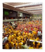 Business Executives On Trading Floor Fleece Blanket