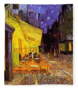 Cafe Terrace At Night Fleece Blanket