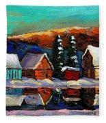 Canadian Art Laurentian Landscape Quebec Winter Scene Fleece Blanket