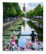 Canal And Decorated Bike In The Hague Fleece Blanket