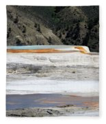 Canary Spring At Mammoth Hot Springs Upper Terraces Fleece Blanket