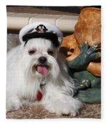Captain Maltese Dog  Fleece Blanket