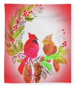 Cardinals Painted By Linda Sue Fleece Blanket