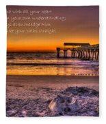 Castles In The Sand 2 Tybee Island Pier Sunrise Fleece Blanket