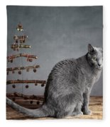 Cat Christmas Fleece Blanket
