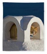 Cat On A Roof, Greece Fleece Blanket