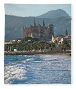 Cathedral And City Beach With People  Fleece Blanket