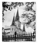 Cathedral Basilica - Square Bw Fleece Blanket