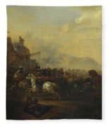 Cavalry Attacking A Fortified Place Fleece Blanket