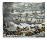 Central Park In Winter Fleece Blanket