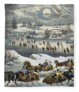 Central Park In Winter Fleece Blanket
