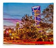 Charlotte City Skyline Early Morning At Sunrise Fleece Blanket