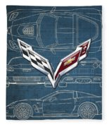 Chevrolet Corvette 3 D Badge Over Corvette C 6 Z R 1 Blueprint Fleece Blanket