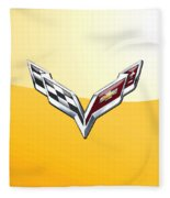Chevrolet Corvette 3d Badge On Yellow Fleece Blanket