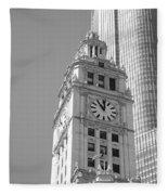 Chicago Clocktower Fleece Blanket