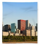 Chicago Downtown At Sunrise Fleece Blanket