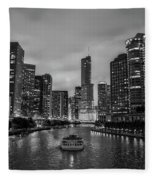 Chicago River Sunset Fleece Blanket