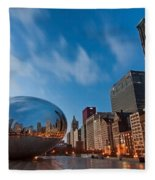 Chicago Skyline And Bean At Sunrise Fleece Blanket