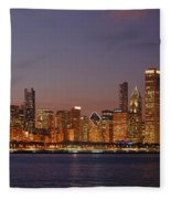Chicago Skyline At Dusk Panorama Fleece Blanket