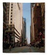 Chicago Street With Flags Fleece Blanket