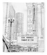 Chicago Theater Marquee Fleece Blanket