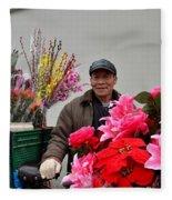 Chinese Bicycle Flower Vendor On Street Shanghai China Fleece Blanket