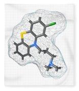 Chlorpromazine, Molecular Model Fleece Blanket