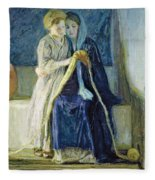 Christ And His Mother Studying The Scriptures Fleece Blanket