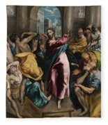 Christ Driving The Traders From The Temple Fleece Blanket