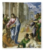 Christ Healing The Blind Fleece Blanket