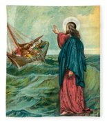 Christ Walking On The Sea Fleece Blanket