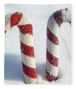 Christmas Candy Canes On Real Snow Fleece Blanket