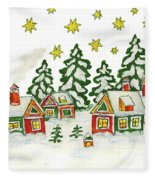 Christmas Picture In Green And Yellow Colours Fleece Blanket
