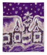Christmas Picture On Crimson Background Fleece Blanket